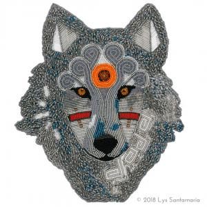 beaded wolf head